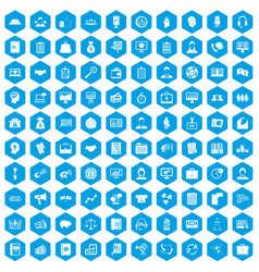 100 business people icons set blue vector
