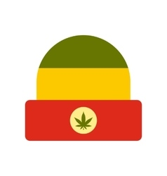 Hat in rastafarian colors icon flat style vector