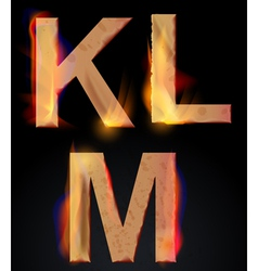 Burning letters klm vector