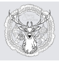 Hand drawn mandala with winter decorative vector