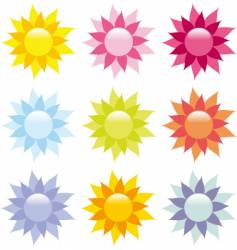 Shiny flower icons vector