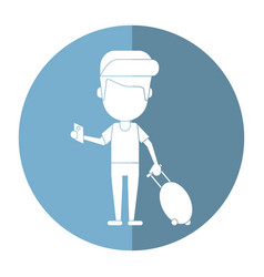 Man traveling passport dragging luggage shadow vector