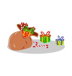 Santas sack bag of presents vector
