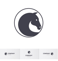 Stylized dark horse head in circle for mascot vector