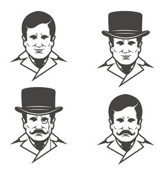 Set of gentleman heads with moustache isolated on vector