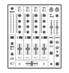 Outline sound dj mixer vector