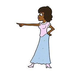 Comic cartoon woman pointing finger vector