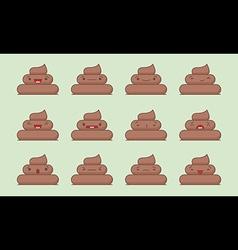 Kawaii poop emotions pack vector image