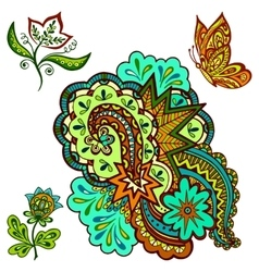 Patterns flowers and butterfly vector