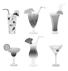 Set of grayscale cocktails vector
