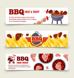 Bbq and steak horizontal banners template vector