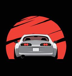 Cartoon japan tuned car on red sun background vector