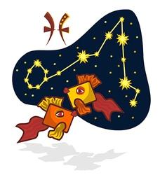 Cartoon Zodiac Pisces with a rectangular muzzle vector image