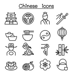 Chinese icon set in thin line style vector