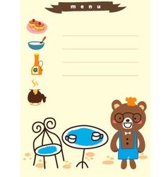 cute bear for menu cafe vector image vector image
