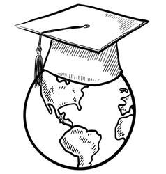 doodle earth graduation cap vector image