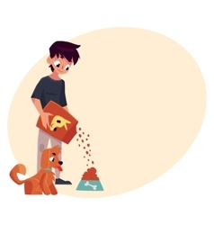 Full length portrait of boy giving food to puppy vector