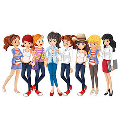Girls in blue jeans vector