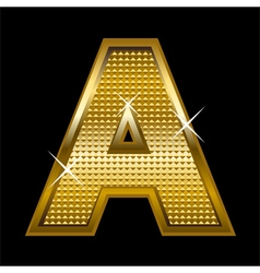 Golden font type letter A vector image vector image