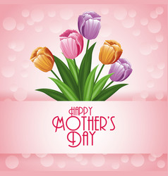 Happy mothers day card with flowers and bubbles vector