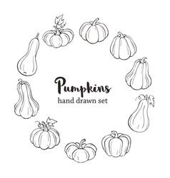 Line art pumpkins vector