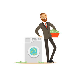 Man in a business suit washing the money in a vector