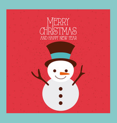 merry christmas and happy new year snowman funny vector image