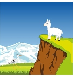 Mountain landscape with animal vector