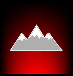 Mountain sign postage stamp or old vector