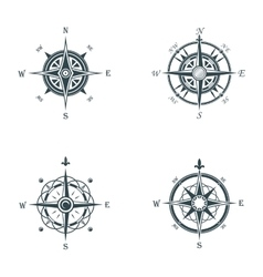 Nautical or marine old navigation compass vector image vector image