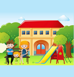 People in family sitting in the yard at home vector