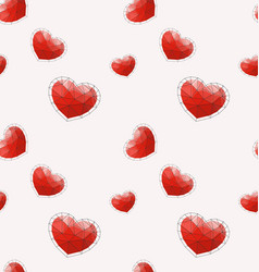 Seamless pattern with red polygonal heart vector