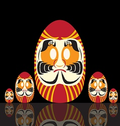 Set of japanese daruma doll vector