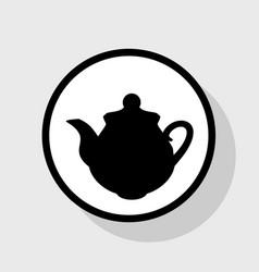 Tea maker kitchen sign flat black icon in vector