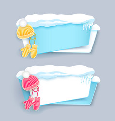 Winter banners with pompom hat mittens and snow vector