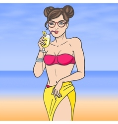 Woman drinking lemonade with glasses on sea vector image vector image