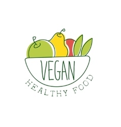 Fresh vegan food promotional sign with bowl of vector