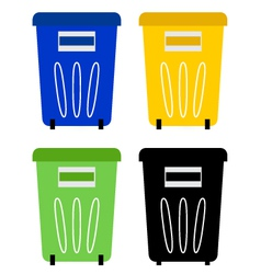 Set of colorful recycle bins isolated on white vector image