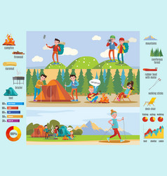 Backpacking and hiking brochure vector