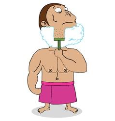 Bear shaving cartoon vector image