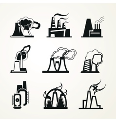 Industrial factory icons vector