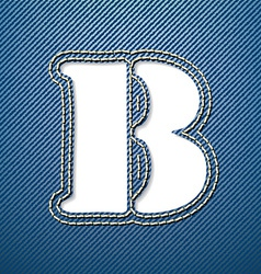 Denim jeans letter b vector