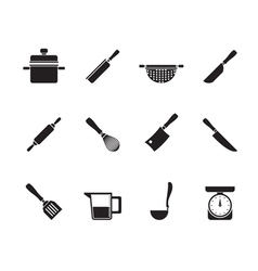 Silhouette cooking equipment and tools icons vector