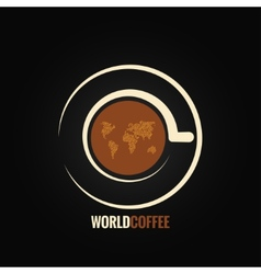 Coffee cup world map background vector
