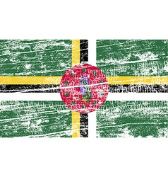 Flag of dominica with old texture vector