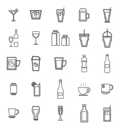 Drink line icons on white background vector