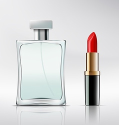 Bottle of perfume and lipstick vector image