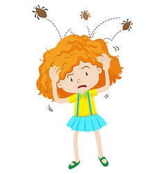 Girl with headlice jumping out vector