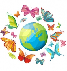 Planet of butterflies vector