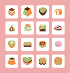 Set icons of delicious chocolate candy sweet food vector